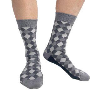 Grårutiga strumpor Tag Socks