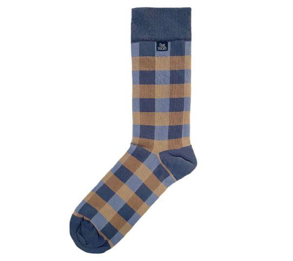 Tag Socks checkered Pasific blå strumpor